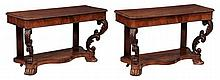 A pair of George IV mahogany console tables , circa 1825