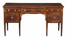 A mahogany and satinwood banded sideboard in George III style