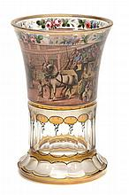 A Bohemian transparent-enamelled beaker decorated with an English coaching...