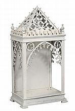 A white painted display stand in Gothic style , late 19th/ early 20th century
