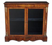 A Victorian burr walnut display cabinet, circa 1870