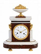 A French ormolu mounted red and white marble mantel clock, unsigned
