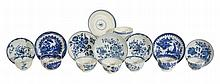 Eight Worcester blue and white tea bowls and saucers