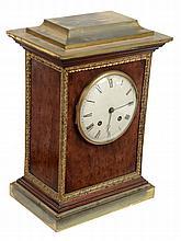 A French gilt brass mounted plum pudding mahogany mantel clock Masson, Paris
