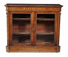 A Victorian burr walnut and satinwood strung side-cabinet , circa 1860