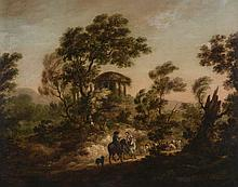 English School (19th Century) - Figures in an italianate landscape with temple ruin