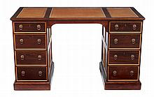 A late Victorian mahogany and boxwood twin pedestal desk , circa 1890