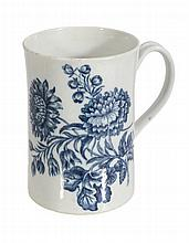 A Worcester porcelain blue and white mug, circa 1770, decorated with the