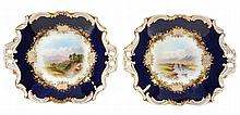 A pair of Coalport blue ground landscape decorated shaped square serving...