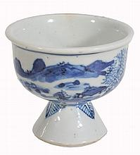 A small Chinese blue and white stem cup, late 18th/19th century