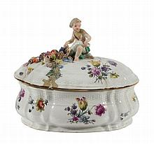 A Meissen shaped oval tureen and cover, mid 18th century
