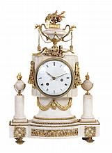 A French marble and ormolu mounted mantel clock, unsigned