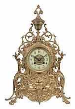 A French brass mantel clock, unsigned, early 20th century