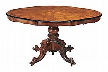 A Victorian walnut and marquetry inlaid centre table , circa 1870