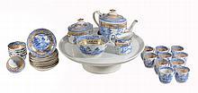 A Miles Mason blue and white porcelain part tea service , circa 1805