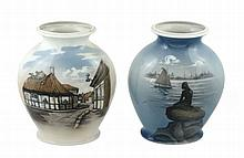 Two Royal Copenhagen porcelain vases, one with a village scene