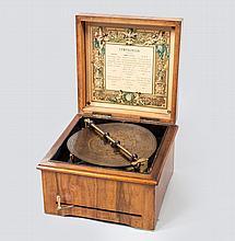 A symphonion by Paul Lochmann, Leipzig, 1895 , the case veneered with walnut