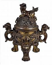 A large bronze tripod censer, the bulbous body