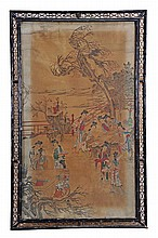 A Chinese painting of maidens playing games on a