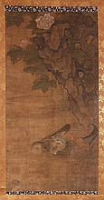 A Chinese scroll painting on silk depicting a