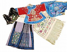 A selection of Chinese silk textiles finely