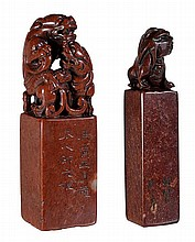 Two Chinese soapstone seals carved with seated