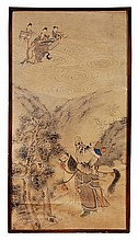 A Chinese painting of a warrior, standing amid a