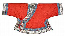 A Chinese red ground silk child's jacket