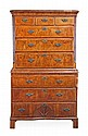 A George II walnut chest on chest, circa 1740, the