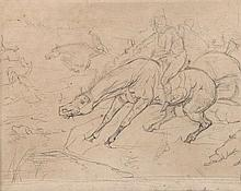 Sir Edwin Henry Landseer (1802-1873) - Sketch of a Hunt in Full Cry