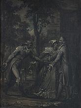 French School (19th century) - Three figures in a woodland setting