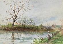 Charles Edward Holloway (1838-1897) - River scene