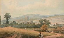 English School (early 19th century) - A view of Bath Abbey and the city