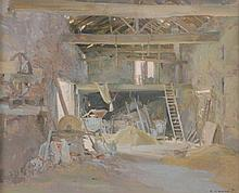 David J Curtis (b.1948) - Barn Interior, Wroot, Lincolnshire