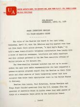 BEATLES, THE - Original press release for the Beatles 1964 first movie