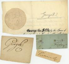AUTOGRAPH COLLECTION - KINGS AND QUEENS - Small collection of clipped signatures by King George III