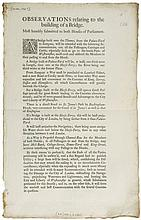 Observations relating to the building of a Bridge, printed sheet, 1p