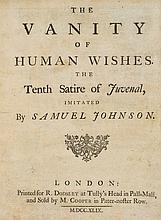 Johnson (Samuel) - The Vanity of Human Wishes. The Tenth Satire of Juvenal, Imitated,
