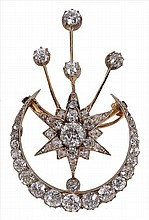 A late 19th century diamond crescent brooch, the