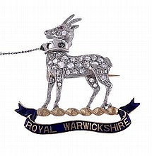 Royal Warwickshire Regiment, a diamond and enamel