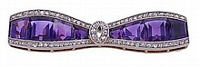 An early 20th century amethyst and diamond bow