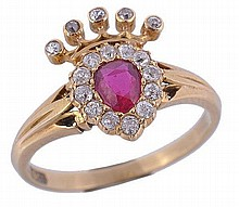 A Victorian ruby and diamond coroneted heart ring,