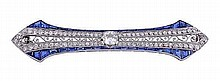A French platinum sapphire and diamond brooch,