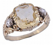 An mid 19th century yellow sapphire and rose cut