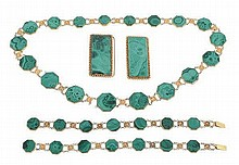 A mid 19th century gold and malachite suite of