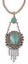 An early 20th century Jaipur enamel, emerald,
