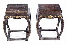 A pair of Chinese black lacquer and gilt decorated