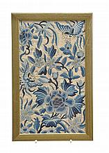 A pair of Chinese silk panels finely embroidered