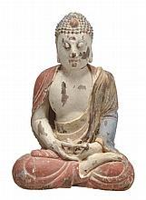 A Chinese wood figure of a Buddha, seated with