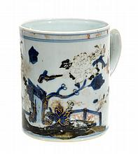 A Chinese blue and white tankard decorated with a